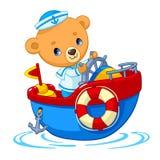 Niedźwiadkowy żeglarz na łódkowatej kreskówka wektoru ilustraci ilustracji