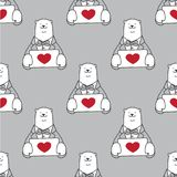 Niedźwiadkowy Bezszwowy Deseniowy wektorowy kierowy valentine odizolowywający niedźwiedź polarny miłości tapetowy tło popielaty Obrazy Stock