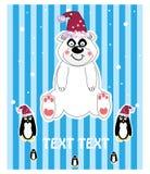 niedźwiadkowych bożych narodzeń kapeluszowy ilustraci śniegu miś pluszowy Obraz Royalty Free