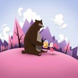 Niedźwiedź i dziewczyna royalty ilustracja