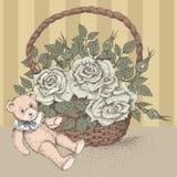 Niedźwiedź i kwiaty Zdjęcia Royalty Free