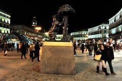 Niedźwiedź i Madrono drzewo w Madryt Hiszpania Obrazy Royalty Free