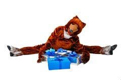 Niedźwiedź i prezenty Obraz Royalty Free