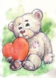 Niedźwiedź i serce Zdjęcia Stock