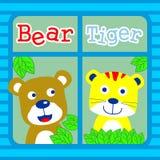 Niedźwiedź i tygrys ilustracja wektor