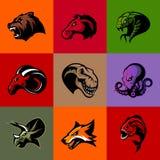 Niedźwiedź, koń, wąż, baran, lis, piranha, dinosaur, ośmiornicy głowa odizolowywał wektorowego loga pojęcie Obrazy Royalty Free