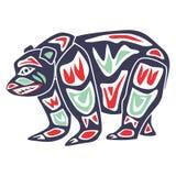 Niedźwiedź na tubylczym plemieniu cartoon2 royalty ilustracja