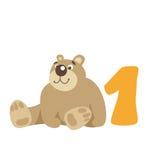 niedźwiedź odizolowywający nad siedzącym miś pluszowy biel Liczba 1 Obrazy Stock
