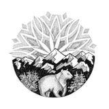 Niedźwiedź Polarny, śnieżne góry i zorza, royalty ilustracja