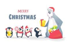 Niedźwiedź polarny daje prezentom pingwiny Obrazy Royalty Free