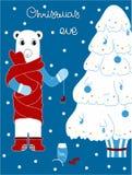 Niedźwiedź polarny dekoruje choinki więcej toreb, Świąt oszronieją Klaus Santa niebo royalty ilustracja
