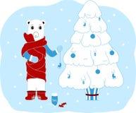 Niedźwiedź polarny dekoruje choinki więcej toreb, Świąt oszronieją Klaus Santa niebo odosobniony ilustracja wektor
