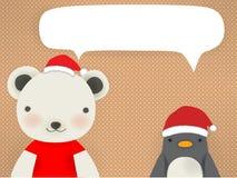 Niedźwiedź polarny & pingwin - mery xmas kartka z pozdrowieniami ilustracja wektor