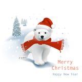 Niedźwiedź Polarny Santa ilustracja wektor