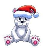 Niedźwiedź Polarny Z Santa kapeluszem ilustracji