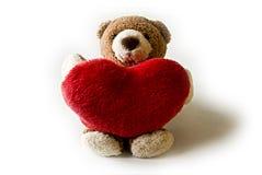 niedźwiedź teddy czerwone serce Zdjęcie Royalty Free