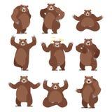 Niedźwiedź ustawiający na białym tle Grizzly różnorodne pozy wyrażenie royalty ilustracja