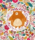 Niedźwiedź w jesień lesie ilustracji