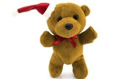 Niedźwiedź w kostiumu Święty Mikołaj odizolowywał na bielu zdjęcia stock
