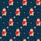Niedźwiedź w xmas szaliku z płatka śniegu bezszwowym wzorem na błękitnym tle i kapeluszu royalty ilustracja