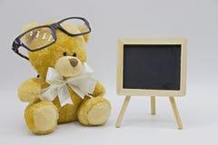 Niedźwiedź z chalkboard Fotografia Stock