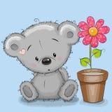 Niedźwiedź z kwiatem ilustracja wektor