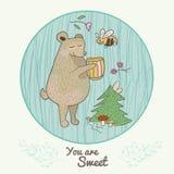 Niedźwiedź z miodową ilustracją dla bajek książek royalty ilustracja