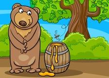 Niedźwiedź z miodową kreskówki ilustracją Obraz Stock