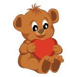 Niedźwiedź z sercem na białym tle Obrazy Royalty Free