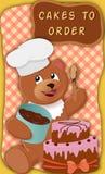 Niedźwiedź z tortem Obraz Royalty Free