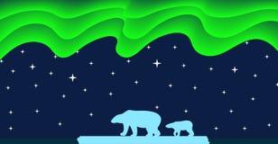 Niedźwiedzi Polarnych i Północnych świateł mieszkania styl ilustracja wektor