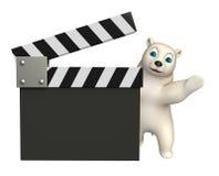 Niedźwiedzia polarnego postać z kreskówki z clapboard Obraz Stock