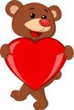Niedźwiadkowa kreskówka z czerwonym sercem Zdjęcie Stock