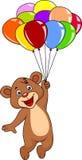 Niedźwiadkowa kreskówka z kolorowym balonem Fotografia Royalty Free