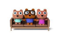Niedźwiadkowy rodzinny obsiadanie na kanapie, 3D rendering Zdjęcia Stock