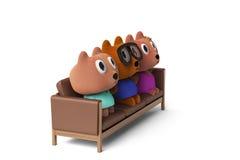 Niedźwiadkowy rodzinny obsiadanie na kanapie, 3D rendering Obrazy Stock