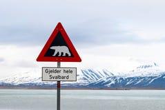 Niedźwiedzia polarnego znak ostrzegawczy Fotografia Royalty Free