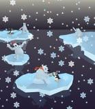 Niedźwiedzie polarni i pingwiny zdjęcie royalty free