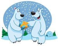 Niedźwiedzie polarni, nowy rok Obrazy Royalty Free