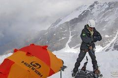 Niedawne opłaty atakować szczyt góra Tetnuld Zdjęcie Stock
