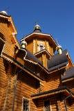 Niedawno budujący drewniany ortodoksyjny kościół fotografia royalty free