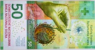 Niedawno Pięćdziesiąt Szwajcarskiego franka rachunków Zdjęcia Royalty Free