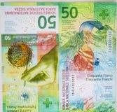 Niedawno Pięćdziesiąt Szwajcarskiego franka rachunków Fotografia Royalty Free