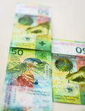 Niedawno Pięćdziesiąt Szwajcarskiego franka rachunków Zdjęcie Royalty Free