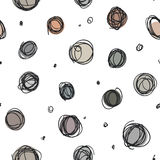 Niedbali okręgi, przypadkowy doodle kropkują bezszwowego wzór Obrazy Royalty Free