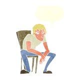 niedergeschlagener Mann der Karikatur mit Spracheblase Stockfoto