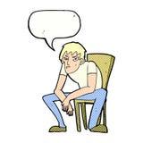 niedergeschlagener Mann der Karikatur mit Spracheblase Lizenzfreie Stockfotografie