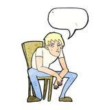 niedergeschlagener Mann der Karikatur mit Spracheblase Stockbilder