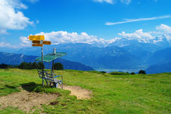 At Niederhorn Mountain. Shot from the Niederhorn mountain in Switzerland, looking south Royalty Free Stock Photos