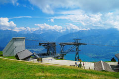 At Niederhorn Mountain. Shot from the Niederhorn mountain in Switzerland, looking south Stock Photos
